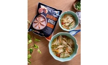 Shrimp Gyoza and Vegetable Soup